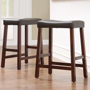 Cherry Saddle Cushioned Seat 24-Inch Bar Stools, Set of Two
